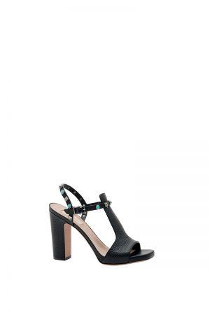 鉚釘裝飾繫帶露趾高跟涼鞋,Valentino Garavani。