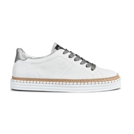 撞色繫帶草編休閒鞋,Hogan,NT15,600。