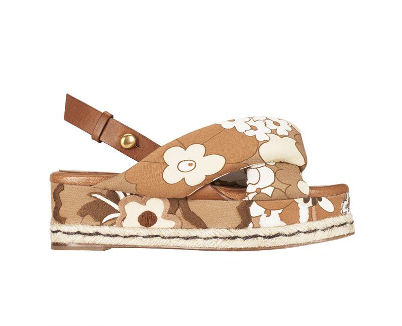 花卉刺繡厚底涼鞋,Chloe。