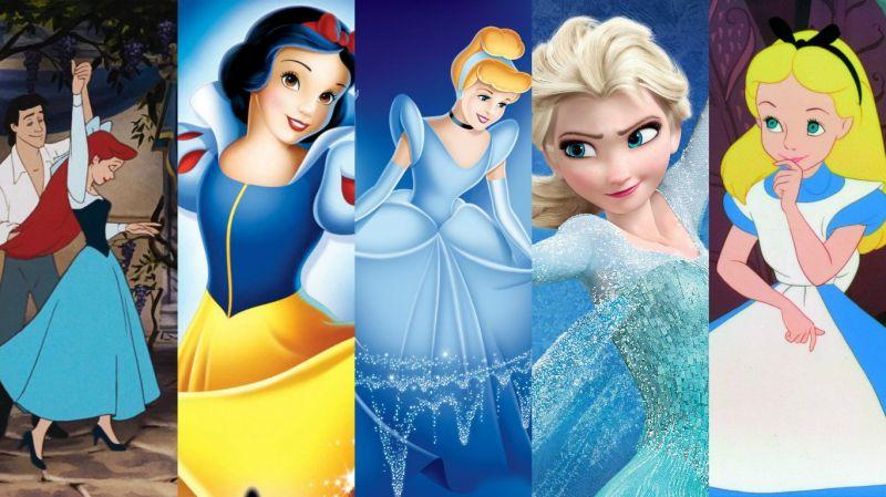(左至右)迪士尼公主偏好「藍色」服裝,《小美人魚》、《白雪公主》、《仙履奇緣》、《冰雪奇緣》、《愛麗絲夢遊仙境》
