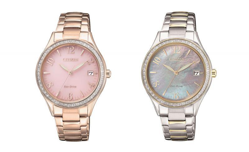 EO1183-84X,NT8,800:不鏽鋼鍍金款式,錶面尺寸34mm,48顆水晶環繞錶框,搭配光動能機芯。EO1184-81D,NT8,800:不鏽鋼半金款式,搭配白蝶貝面板,錶面尺寸34mm,48顆水晶環繞錶框,搭配光動能機芯。