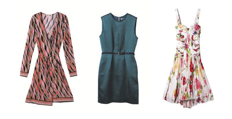 左至右:MICHAEL KORS復古幾何印花圍裏式洋裝,原價NT$6,500/特價NT$2,600 (4折)、JAMEI CHEN藍綠色小洋裝,原價NT$22,800/特價NT$4,560 (2折);Roberto Cavalli繽紛花卉洋裝,原價NT$179,600/特價NT$35,920 (2折)*華泰獨家限量2件