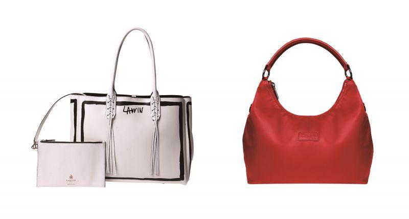 左至右:LANVIN白色塗鴉SHOPPER包,原價NT$60,770/特價NT$30,385 (約5折)、Lipault紅色新月肩包,原價NT$3,000/特價NT$1,350 (45折)
