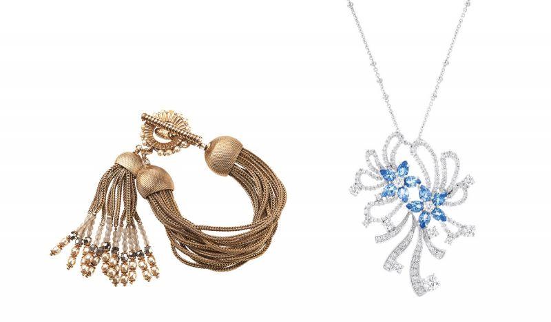 左至右:MIRIAMHASKELL流蘇金鍊手環 (Level 6ix),原價NT$16,280/特價NT$4,884 (3折)、ARTE Zinnia系列彩色晶鑽鍊墜,原價NT$20,300/特價NT$7,000 (約34折)