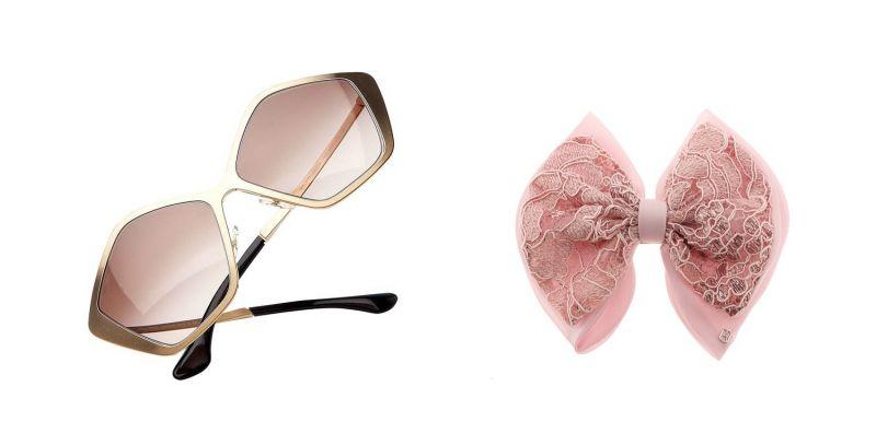 左至右:MiuMiu五邊形造型太陽眼鏡(2020 EYEhaus),原價NT$14,200/特價NT$5,380 (約37折)、Alexandre De Paris蝴蝶型髮夾,原價NT$9,400/特價NT$2,820 (3折)