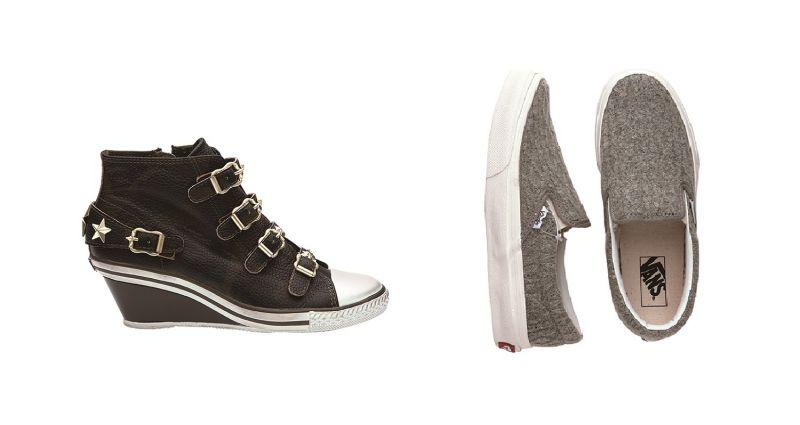 左至右:ASH真皮星星高筒鞋 (bluebell),原價NT$9,280/特價NT$3,712 (4折)、VANS灰色毛線編織設計懶人鞋,原價NT$2,180/特價NT$990 (約45折)