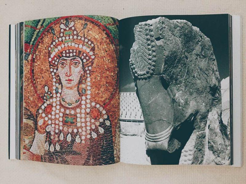 左:義大利教堂中馬賽克壁畫查士丁尼大帝的皇后Theodora配戴大量真珠