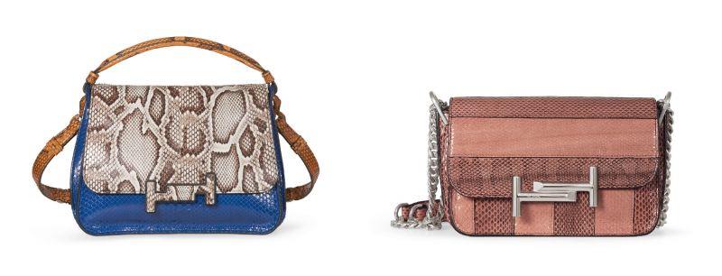 蛇皮拼接Double T Bag,NT108,100、蛇皮拼色Double T Bag,NT157,500。