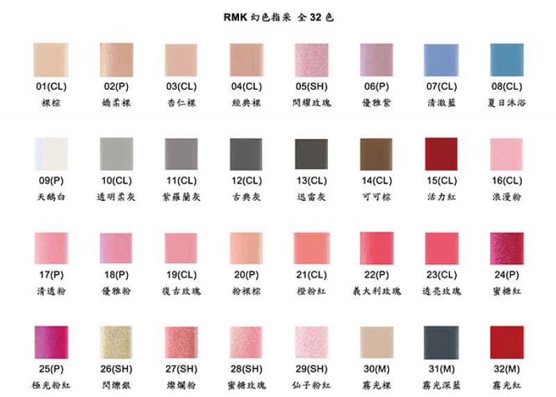 RMK 幻色指采,7ml,NT$550(色號卡)