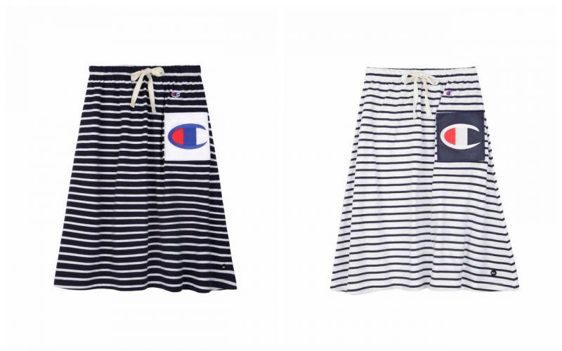 抽繩橫條紋半裙,NT$1980。