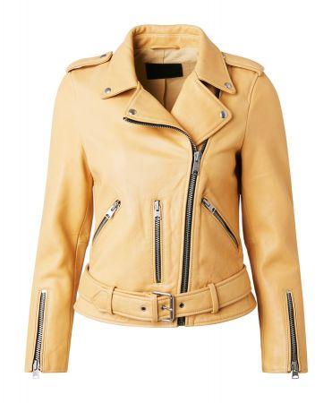 Balfern 檸檬黃女羊皮騎士夾克 定價17900