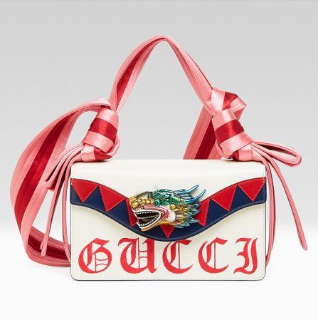龍頭裝飾緞帶包,Gucci。