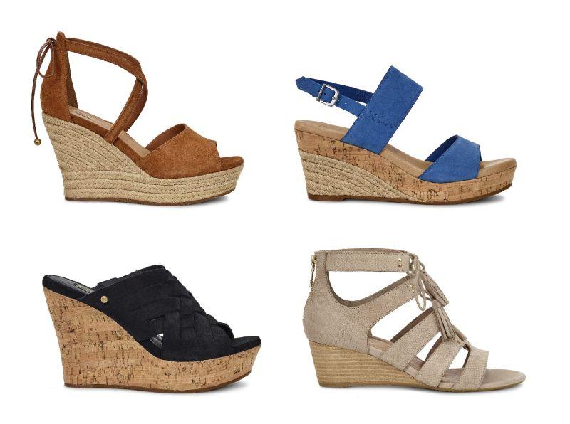 Reagan楔型涼鞋(栗子色)NT8,000、Elena楔型涼鞋(藍色) NT7,000、Marta楔型涼鞋(黑色) NT7,000、Yasmin_Snake楔型涼鞋(卡其色)NT7,200。