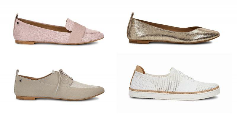 Jonette Snake平底鞋(粉紅色)NT6,200、Lynley Metallic平底鞋(金色)NT5,200、Marji Snake牛津鞋(淺駝色)NT7,000、Pinkett休閒鞋(白色)NT5,500。