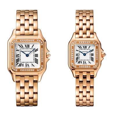 Panthère de Cartier美洲豹玫瑰金鑽石腕錶錶圈鋪鑲鑽石,搭載石英機芯,八角形錶冠鑲嵌鑽石(左)中型款,參考價格約NT$ 845,000(右)小型款,參考價格約NT$ 730,000