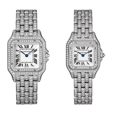 Panthère de Cartier美洲豹白K金全鋪鑲鑽石腕錶錶殼、錶帶全鋪鑲鑽石,搭載石英機芯,八角形錶冠鑲嵌鑽石(左)中型款,參考價格約NT$ 3,450,000(右)小型款,參考價格約NT$ 2,490,000