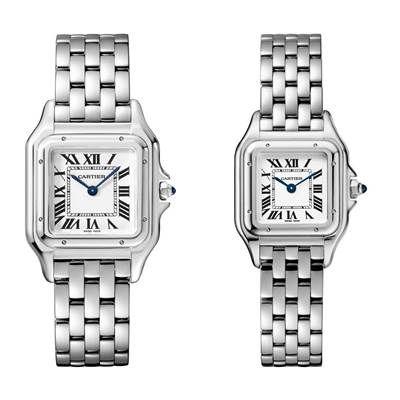 Panthère de Cartier美洲豹精鋼腕錶搭載石英機芯,八角形錶冠鑲嵌合成藍寶石(左)中型款,參考價格約NT$ 142,000(右)小型款,參考價格約NT$ 123,000