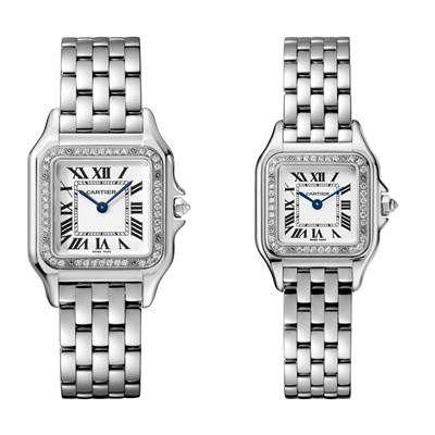 Panthère de Cartier美洲豹白K金鑽石腕錶錶圈鋪鑲鑽石,搭載石英機芯,八角形錶冠鑲嵌鑽石(左)中型款,參考價格約NT$ 905,000(右)小型款,參考價格約NT$ 780,000