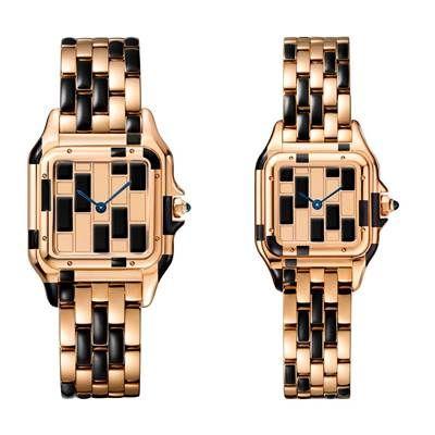 Panthère de Cartier美洲豹玫瑰金黑琺瑯腕錶錶盤、錶殼、錶帶為玫瑰金與黑色琺瑯,搭載石英機芯,八角形錶冠鑲嵌藍寶石(左)中型款,參考價格約NT$ 890,000,編號限量30只(右)小型款,參考價格約NT$ 765,000,編號限量50只