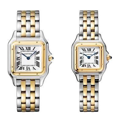 Panthère de Cartier美洲豹黃K金與精鋼腕錶搭載石英機芯,八角形錶冠鑲嵌合成藍寶石(左)中型款,參考價格約NT$ 249,000(右)小型款,參考價格約NT$ 226,000