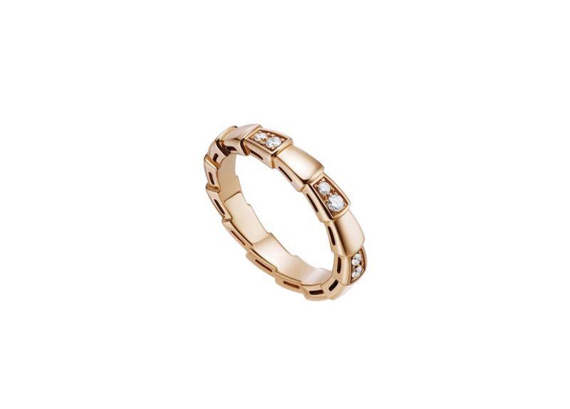 AN857896_BVLGARI SERPENTI VIPER RING玫瑰金鑽石戒指,參考價格 約新台幣77,800元
