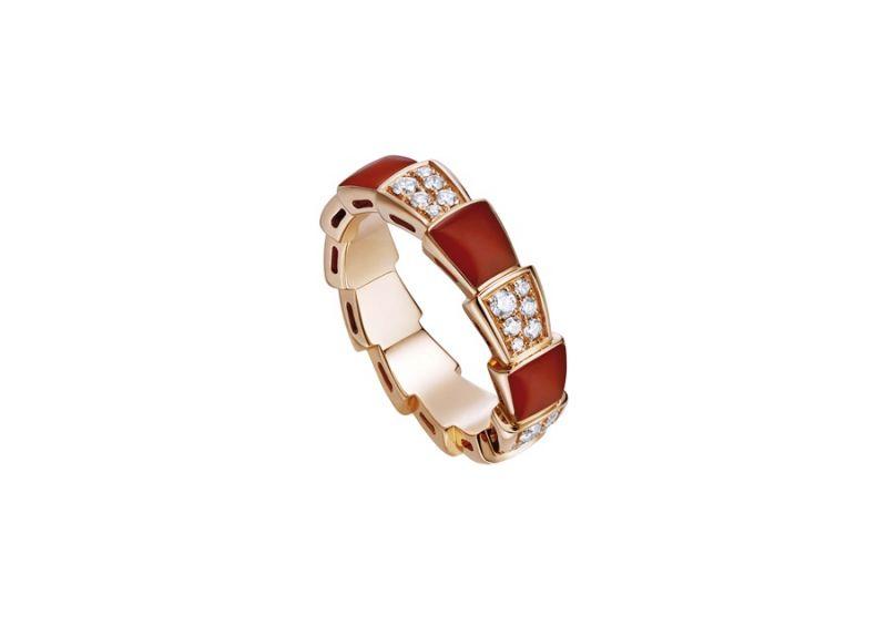 AN857927_BVLGARI SERPENTI VIPER RING玫瑰金紅玉髓鑽石戒指,參考價格 約新台幣139,500元