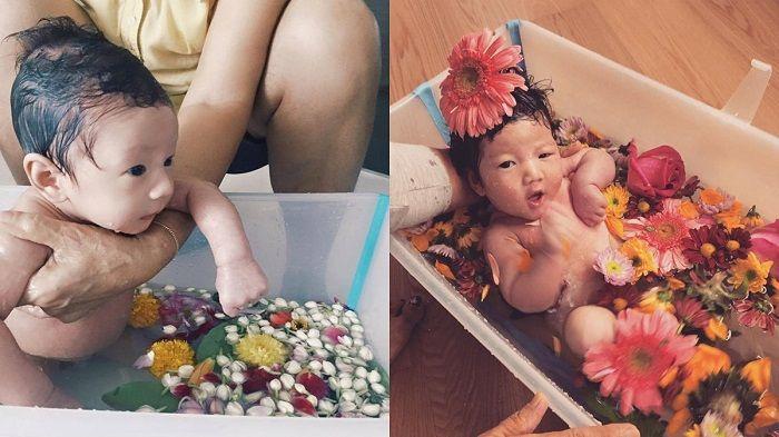 雙寶都洗了花浴,要平安健康地長大噢