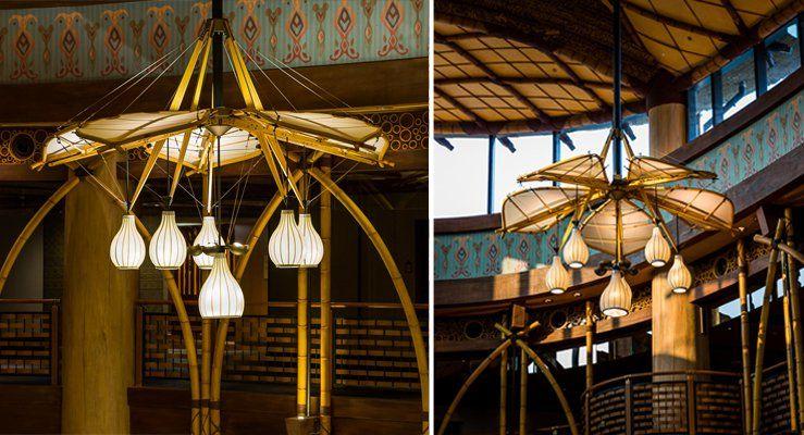 迪士尼探索家度假酒店大廳已飛船為靈感的特色燈飾