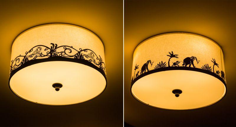 (左)大洋洲主題區燈飾、(右)亞洲主題區燈飾
