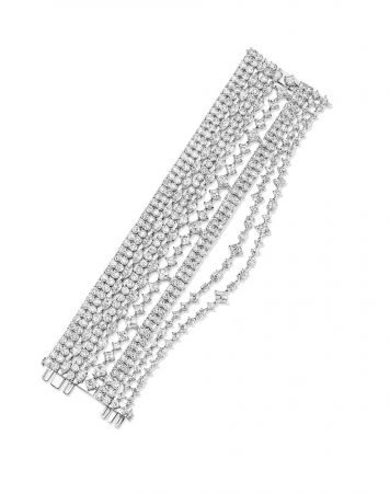 海瑞溫斯頓Secret Combination鑽石手鍊總重約66.83克拉,悉心鑲嵌於鉑金底座。
