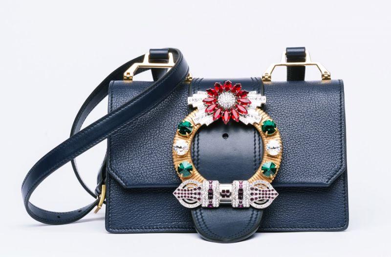 MIU MIU 水晶釦環山羊皮手提包(黑) $71,500