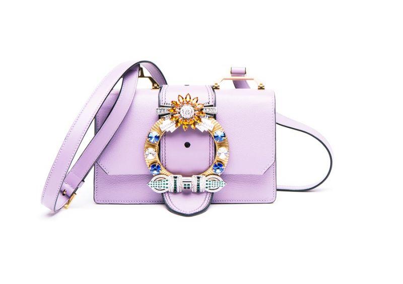 MIU MIU MIU Lady 水晶扣環肩背包(粉紫) $68,000
