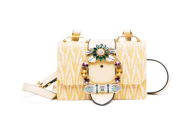 MIU MIU MIU Lady 水晶扣環肩背包(鵝黃)