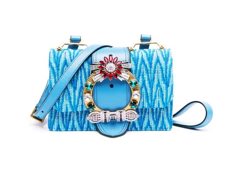 MIU MIU MIU Lady 水晶扣環肩背包(天藍)
