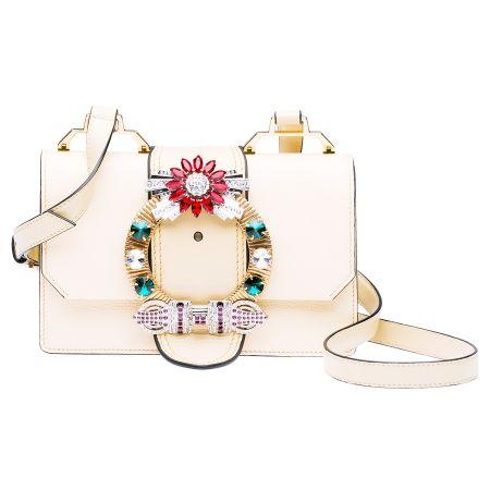 MIU MIU MIUlady水晶釦環山羊皮手提包(鵝黃) $71,500