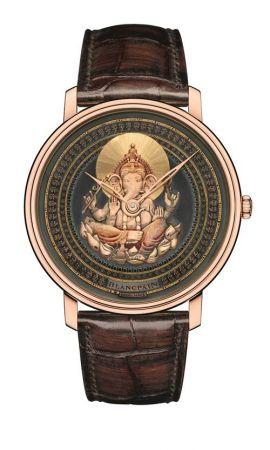 Villeret 大藝術家系列SHAKUDO -印度象神18K紅金錶殼,直徑45毫米,藍綠色手工Shakudo赤銅面盤,Caliber 15B型手動上鍊機芯,動力儲存40小時時、分顯示藍寶石水晶後底蓋,防水30米短吻鱷魚皮錶帶