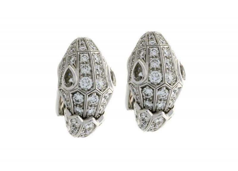 BVLGARI Serpenti 頂級鑽石白K金 耳環 (Bella Hadid配戴款)