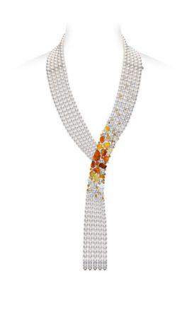 MIKIMOTO 頂級珠寶系列 Passion Fire彩寶日本Akoya真珠鑽石項鍊