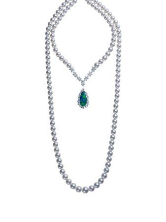 MIKIMOTO頂級珠寶系列 黑蛋白石雙圈南洋真珠鑽石長鍊
