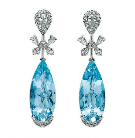 MIKIMOTO 頂級珠寶系列 海水藍寶鑽石耳環