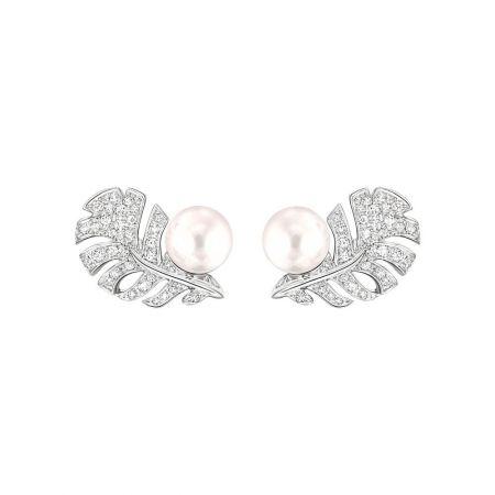香奈兒高級珠寶Plume Perle耳環,18K白金鑲嵌鑽石及日本養珠