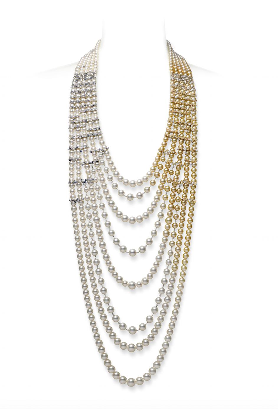 米倉涼子穿戴MIKIMOTO Praise to Nature頂級珠寶系列《海洋》鑽石真珠串鍊,台幣約23,340,000元