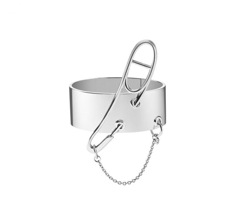 鑲單鑽純銀手環,Hermès,NT263,700。