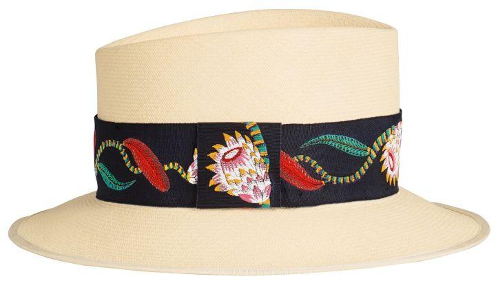 圖紋印花編織飾帶巴拿馬草帽,Hermès,NT41,300。