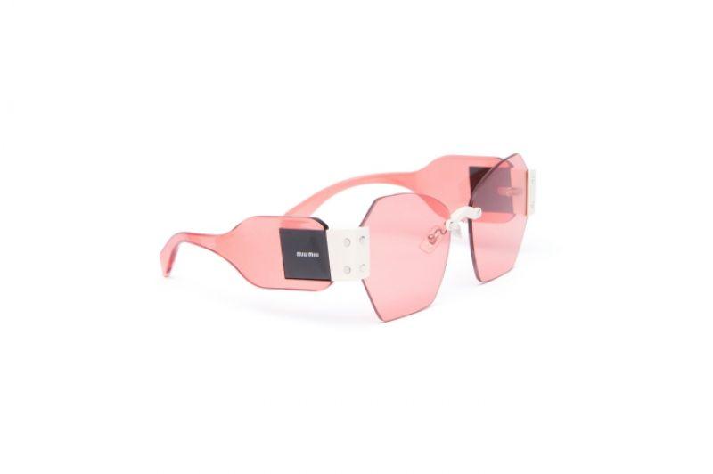 復古粉色透明太陽眼鏡,Miu Miu。