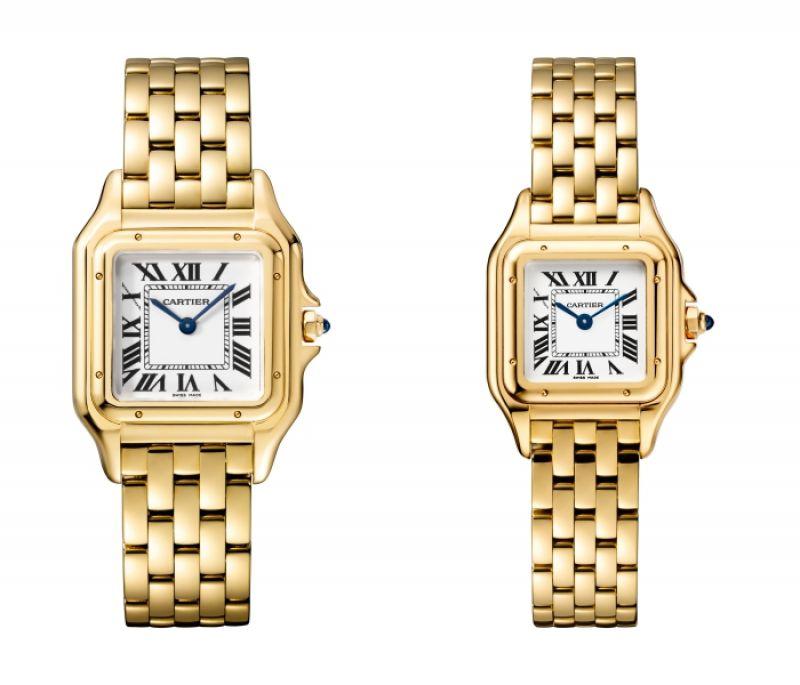 Panthère de Cartier美洲豹黃K金腕錶 - 搭載石英機芯,八角形錶冠鑲嵌藍寶石(左)中型款,參考價格約NT$ 710,000 / (右)小型款,參考價格約NT$ 615,000