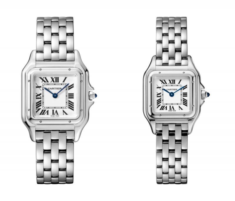 Panthère de Cartier美洲豹玫瑰金腕錶 - 搭載石英機芯,八角形錶冠鑲嵌藍寶石(左)中型款,參考價格約NT$ 710,000 / (右)小型款,參考價格約NT$ 615,000