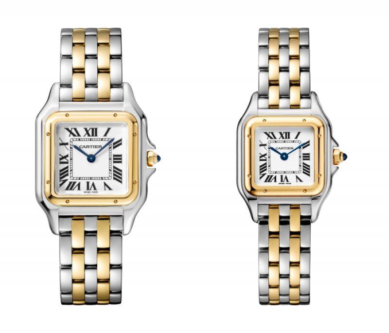 Panthère de Cartier美洲豹黃K金與精鋼腕錶 - 搭載石英機芯,八角形錶冠鑲嵌合成藍寶石(左)中型款,參考價格約NT$ 249,000 / (右)小型款,參考價格約NT$ 226,000