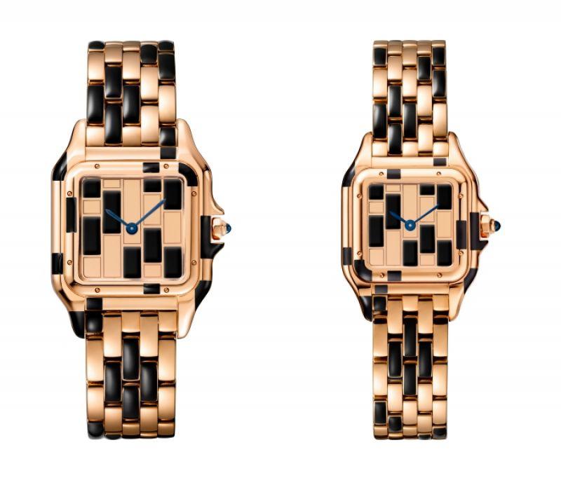 Panthère de Cartier美洲豹玫瑰金黑琺瑯腕錶 - 錶盤、錶殼、錶帶為玫瑰金與黑色琺瑯,搭載石英機芯,八角形錶冠鑲嵌藍寶石(左)中型款,參考價格約NT$ 890,000,編號限量30只 / (右)小型款,參考價格約NT$ 765,000,編號限量50只