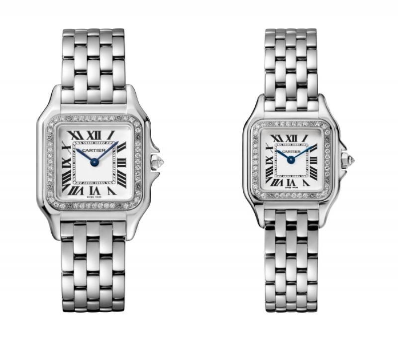 Panthère de Cartier美洲豹白K金鑽石腕錶 - 錶圈鋪鑲鑽石,搭載石英機芯,八角形錶冠鑲嵌鑽石(左)中型款,參考價格約NT$ 905,000 / (右)小型款,參考價格約NT$ 780,000